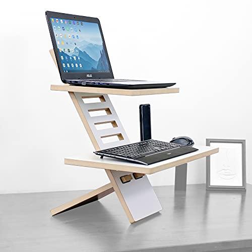 Stand Desk Medium - Schreibtischaufsatz, Stehpult Aufsatz höhenverstellbar, Schreibtisch Erhöhung und Stehtisch