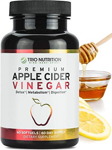 Trio Nutrition Premium Apple Cider Vinegar Capsules | Immune Support Booster with Maximum Strength | Raw & Fresh Natural Apple Cider Vinegar Pills for Cleanse, Detox Boost, Keto & Metabolism Support