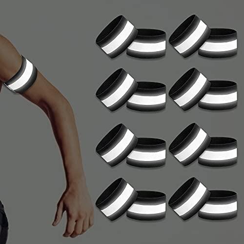 BOYATONG 16 Stück Set Reflektorband,Reflektorband Selbstklebend,Reflektorbänder Reflektoren Kinder,Reflektoren Joggen,Armband Reflektierend für Outdoor Sports Fahrrad Jogging Laufen Wandern