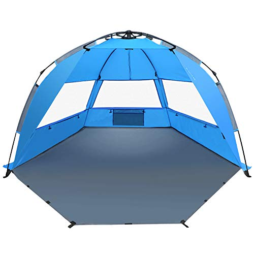 TAGVO Pop Up Beach Tent Sun Shelter with Privacy Front Door Easy Set Up Tear Down, Portable Lightweight Beach Baby Canopy, UPF 50+ Sun Protection Mesh Screen Windows Good Ventilation Sun Shade Tent