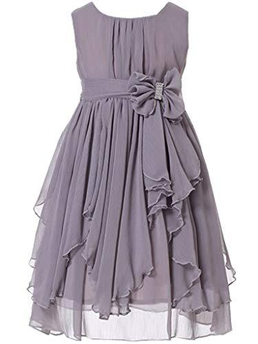 Bow Dream Flower Girl Dress Bridesmaid Ruffled Chiffon Grey 8