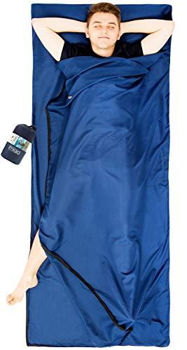 MIQIO 2in1 Hut Sacco a Pelo con Cerniera Continua (a Sinistra o a Destra): Sacco a Pelo Leggero Comfort da Viaggio e Coperta da Viaggio XL in un unica Soluzione - Blu