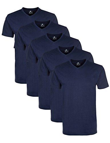 Lower East Herren T-Shirt mit V-Ausschnitt, 5er Pack, Einfarbig, Gr. Medium, Blau (Dunkelblau)