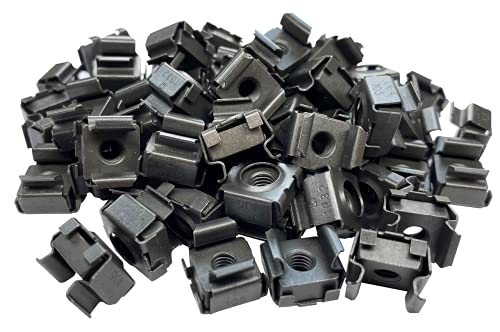 RackGold Black 10-32 Cage Nuts 50 Pack - USA Made