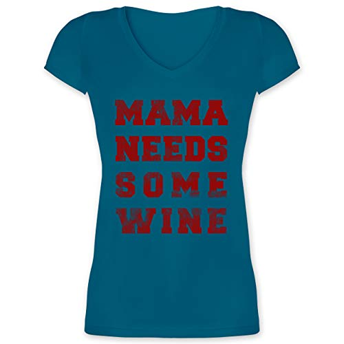 Muttertagsgeschenk - Mama Needs Some Wine Vintage - L - Türkis - Mama Needs Some Wine Shirt - XO1525 - Damen T-Shirt mit V-Ausschnitt