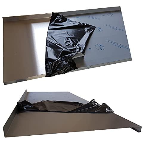 Edelstahl Abdeckplatte K240, Edelstahltisch Abdeckplatte Edelstahltisch Gastrotisch 1,5mm Abdeckung für 80 cm Küchenarbeitsplatte 4 cm stark 110 cm (1100mm) lang, Edelstahl Schneidebrett