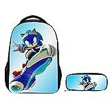 XINXIANG Bolsa de Sonic 2 unids/Set Nuevo Juego de Bolsa de Sonic Shadow de Dibujos Animados para niños niñas Adolescentes Mochila para portátil Chico Bandolera Estuche para lápices niños