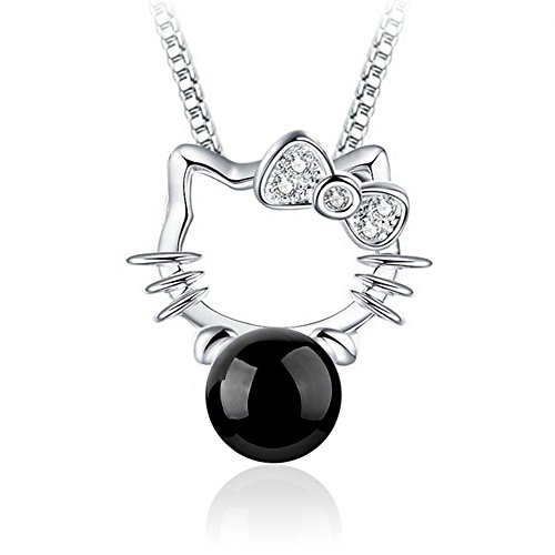 Collana hello kitty perla nero argento