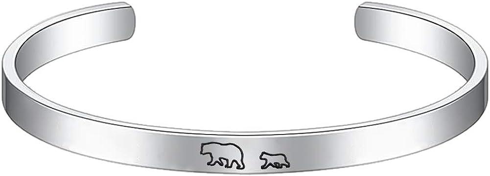 PARTNER Mama Bear Bracelet with 1 2 3 Cubs Cuff Bangle Bracelet Gift for Mom Women Family