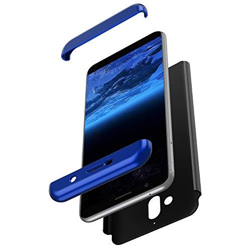 JAWSEU Compatibile con Nokia 7 Plus Custodia Protezione Completa con Schermo Vetro Temperato Cover Protettiva Slim Plastica PC Hard Case AntiGraffio Antiurto Bumper Cover,Blu Nero