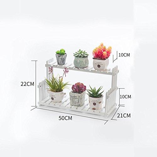 &Présentoir Porte-pot à fleurs, étagères à fleurs multicouches Étagères à étagères en bois massif Étagère à étages ( Couleur : Blanc , taille : 50*21*22CM )