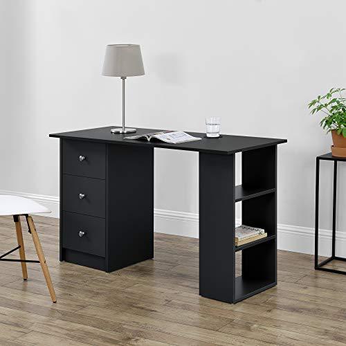 [en.casa] Schreibtisch 120x50x72cm mit 3 Ablageflächen und Schubladen Bürotisch Schwarz Computertisch PC Tisch