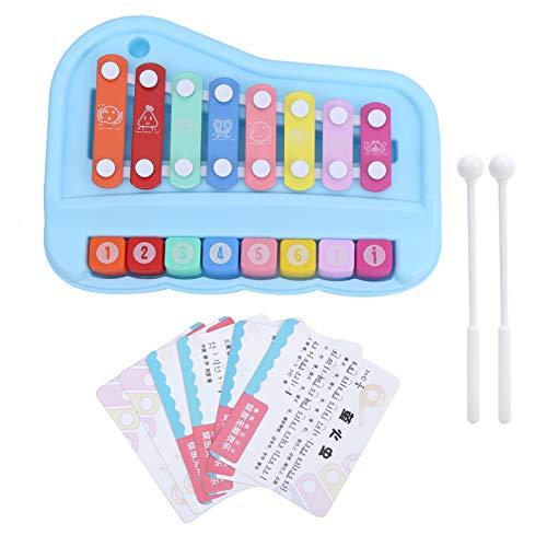Juguete del piano de la música del bebé, 2 en 1 Baby Piano Xilófono para niños de 8 escalas con mazos Juguete de aprendizaje de piano Música Aprendizaje educativo(azul)