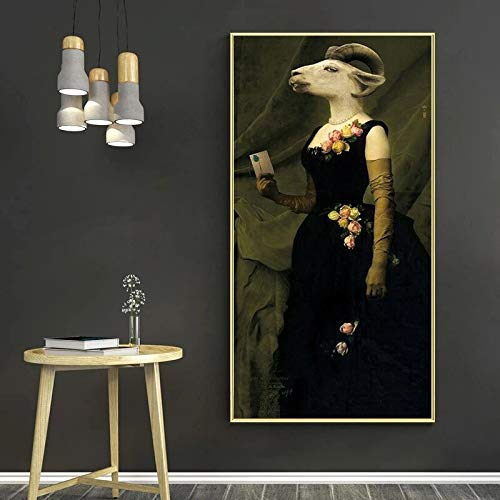 wZUN Pintura al óleo Animal Creativa de Earl Goat sobre Lienzo, póster Impreso y Cuadro de Pintura Retro para Sala de Estar nórdica 60x120 Sin Marco