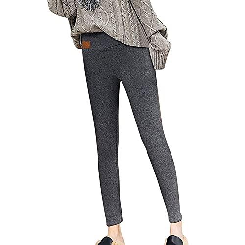 Yokbeer Leggings de Punto Cálidos de Invierno para Mujer, Línea de Vellón, Medias Elásticas de Longitud Completa, Pantalones con Aislamiento Térmico, Pantalones (Color : Gray, Size : S)