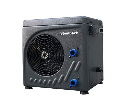 Steinbach Mini Wärmepumpe für Pools bis 20.000 l Wasserinhalt, Heizleistung 3,9 kW, 220V Betriebsspannung, Wasseranschluss Ø 32/38 mm, integrierter Durchflusssensor, schwarz, 049275