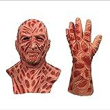 Halloween Overhead Costome, máscara de vinilo Fre_ddy Krue_ger para adultos, disfraz de Pesadilla en Elm Street, máscara de juego de rol, talla única (máscara con 1 guante)