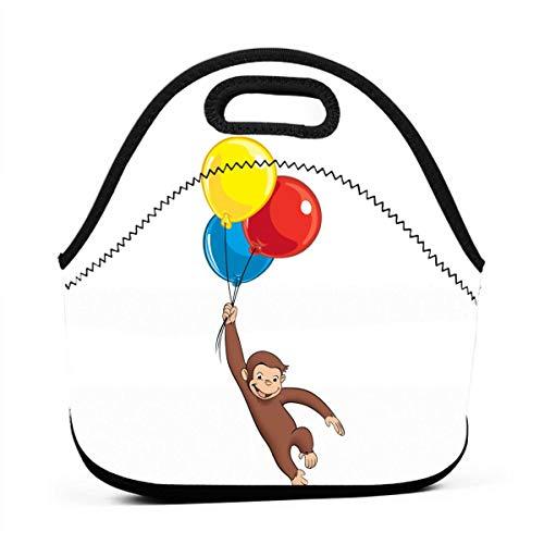Insulated Neoprene Picnic Storage Bag Gourmet Handbag For Men Women Curious George Reusable Zipper Bento Lunch Box Food Tote