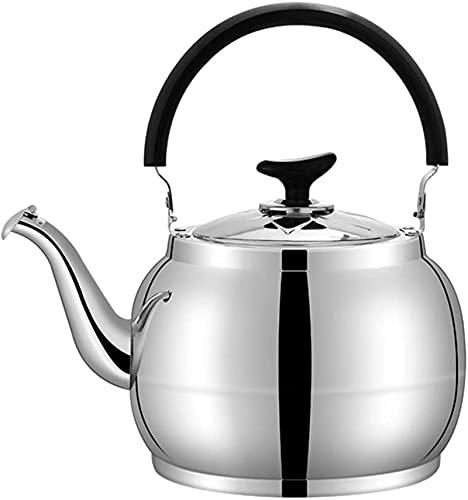 Roestvrijstalen fluitende kookplaat topketel zingende pot theepot inductiekookplaat gasfornuis algemeen warm water ketel theepot kookgereedschap voor thuis keuken camping, 5.5L