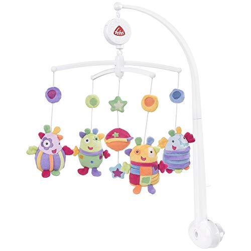 Fehn Rainbow 160741 Mobile musical avec d'adorables nounours à écouter et à regarder - À fixer au lit pour bébé de 0 à 5 mois - Hauteur 65 cm - Diamètre 40 cm