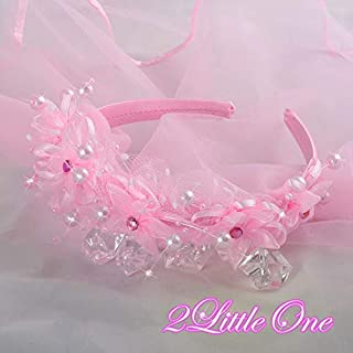 Pearls Pink Headband Veil Headdress First Communion Wedding Flower Girls #212V