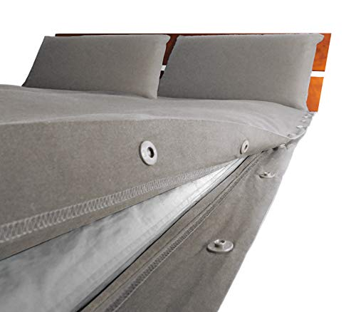 Cliptosleep – Juego de funda nórdica para cama de matrimonio, 260 x 230 cm, 2 fundas de almohada de 50 x 80 cm, sistema patentado de apertura y cierre lateral con botones automáticos (Saso)