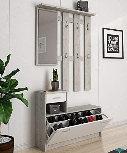 Germanvox - Mobile da Ingresso moderno, Panca con scarpiera e specchio, Entratina con cassetto e appendiabiti, L.100 P.25 H.180 cm, Bianco e Grigio Cemento