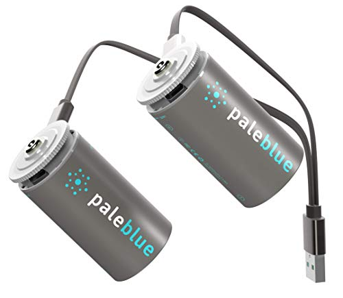 battery for usb charges Rechargeable D Batteries with USB Charger by Pale Blue, Lithium Ion 1.5v 5000 mAh, Charges Under 5 Hours, Over 1000 Cycles, 2-in-1 USB to Micro USB Charging Cable, LED Charge Indicator, 2-Pack