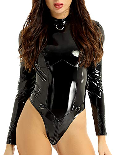 YiZYiF Women's PVC Leather Long Sleeves Zipper Crotch Bodycon Tank Leotard Catsuit Black Large