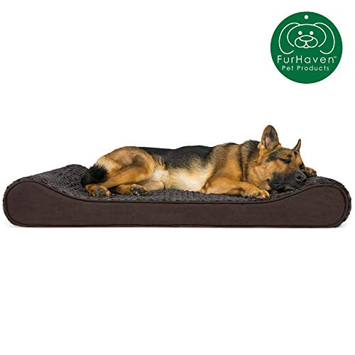 Furhaven Pet Dog Bed | Orthopedic Ultra Plush Faux Fur Ergonomic Luxe Lounger Cradle Mattress Contour Pet Bed w/ Removable Cover for Dogs & Cats, Chocolate, Jumbo