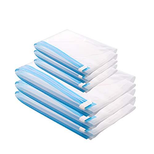 MRS BAG Vakuumbeutel Kleidung Set aus 6 (3*Klein(50x35cm) + 3*Mittel(60x40cm)) Vakuumbeutel Reise für Kleidung, Decken - zum Rollen einfach per Hand, Keine Pumpe benötigt