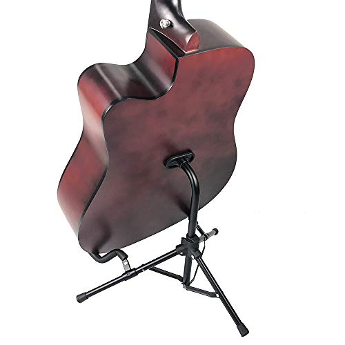 LulingArtsギタースタンド折りたたみユニバーサル三脚タイプスタンドアコースティック/クラシック/エレキギター/ベース/バイオリン/ウクレレ/マンドリンなどに対応収納しやすい転倒防止用ゴム付属ユニバーサル