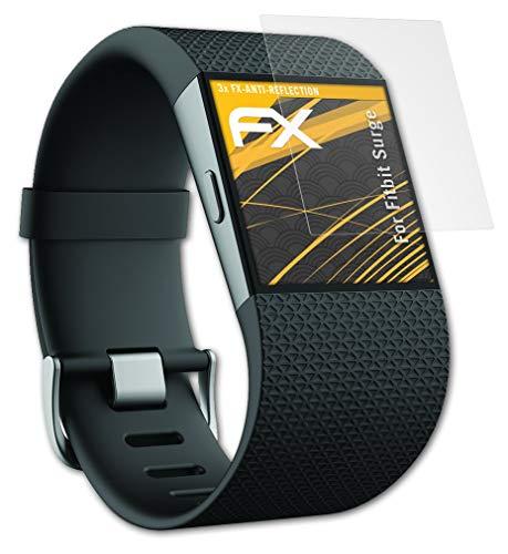 atFoliX Panzerfolie kompatibel mit Fitbit Surge Schutzfolie, entspiegelnde & stoßdämpfende FX Folie (3X)