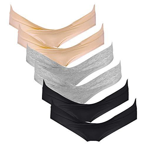 Intimate Portal Femme Slips Brésiliens de Maternité Culottes de Grossesse sous-vêtements en Coton 6 Lot Noir Gris Beige XL