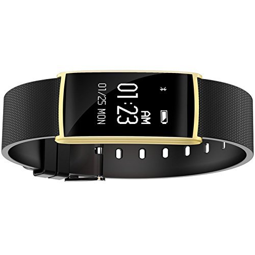 TKSTAR Smartwatch Fitness Tracker Fitness Smart Armband Smartwatch Wasserdicht mit OLED Touchscreen Smart Wristband für iPhone Android inkl. Samsung Huawei Sony Xiaomi für Herren Damen, JU-N108, gold