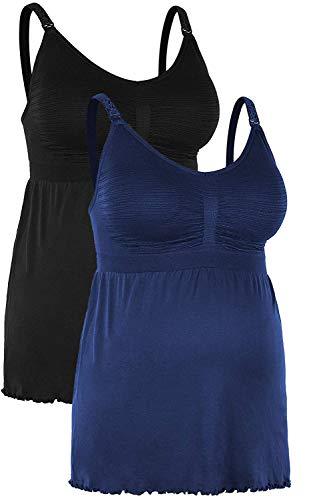 iloveSIA Nahtloses Unterhemd mit Einfacher Stillfunktion Figur-Formendes-Shaping BH-Top Schwarz+blau,3XL