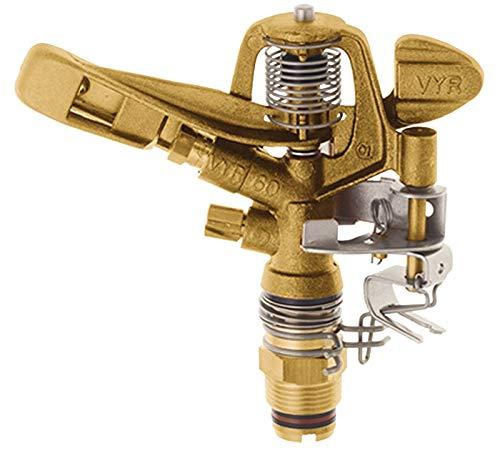 GEKA 604424SB Kreis-Regner V60 16 m G 3/4 Zoll MS 4.4 x 2.4 mm, Silber/Gold, 18 x 8 x 13 cm