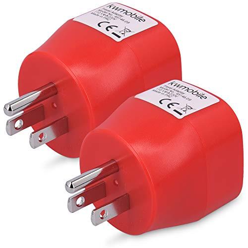 kwmobile 2X Adaptador de Viaje para EEUU Tipo B - Adaptadores de Enchufe schuko - Conector para enchufes de USA Japón Tailandia - Travel Adapter Rojo