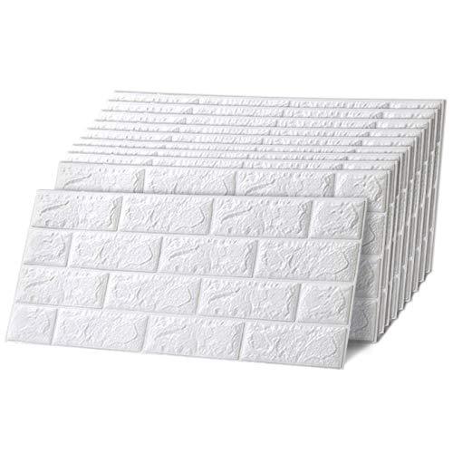 Trintion 10 Stück 3D Wandpaneele Selbstklebend Ziegel Steinoptik Tapete Wasserdicht Wandaufkleber Wandtapete Schaumstoff für Schlafzimmer, Badezimmer, Wohnzimmer, 60x30cm