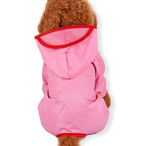 PETCUTE Welpe Hund Regenjacke Haustier Wasserdicht Regenbekleidung Slicker Jacke Poncho mit Kappe für Kleine Mittelgroße Hunde Rosa