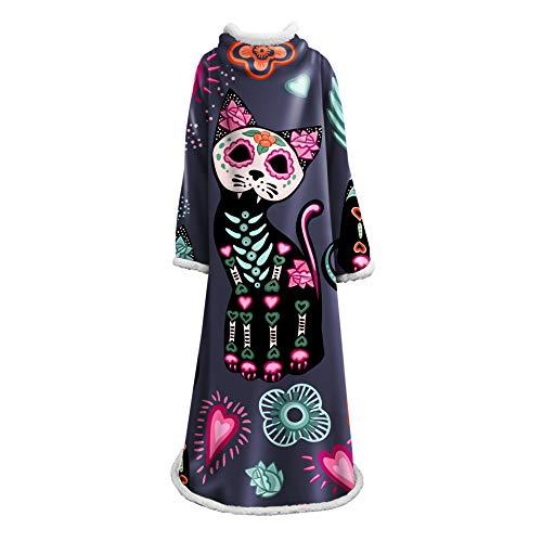 Meetshine Manta de TV con estampado a la moda, con mangas, manta cálida Sherpa, funda suave de manga Lazy Wohndecke, longitud 180 cm, 3127 x 178 cm
