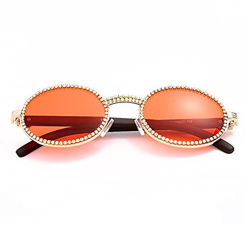 Vintage Redondo Diamante Gafas de Sol Hombres Luxury Mujeres Oval Crystal Wood Punk Gafas Fashion Eyewear UV400 Gafas de Sol (Color : 3, Size : D)