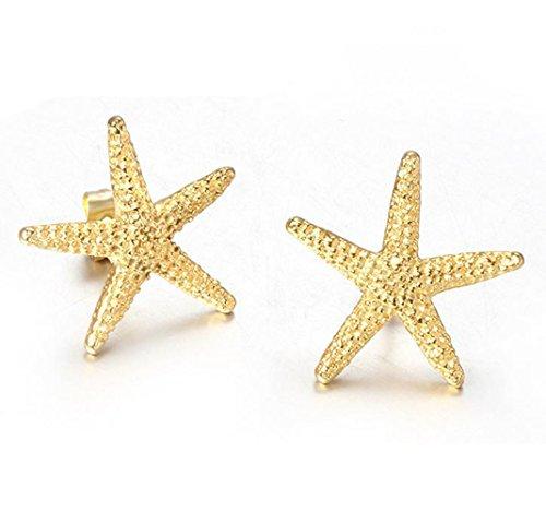 Gudeke Pendientes de las estrellas de mar de las mujeres chapado de oro de acero inoxidable
