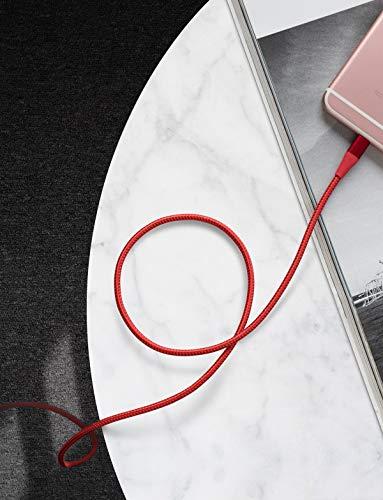 Anker Powerline+ II Lightning-Kabel (1,8 m), MFi-Zertifiziert für perfekte Kompatibilität mit iPhone X / 8/8 Plus / 7/7Plus / 6/6 Plus / 5 / 5S und mehr (rot)