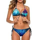 Bikini traje de baño para las mujeres Oso ballenas dos piezas traje de baño señora halter fondo deportes acuáticos V-cuello ropa de baño, Blanco-estilo1, S