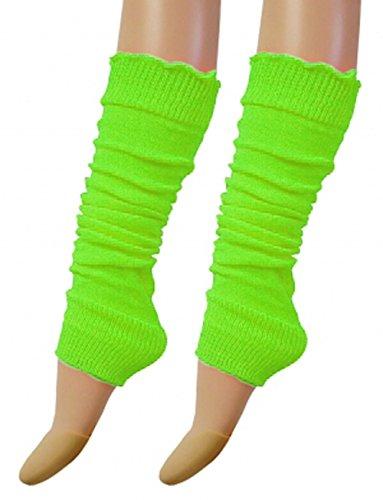 Luxurious Ladies 80's Dance Plain Ribbed Leg Warmers, Neon Leg warmers 15 Colours (Green)