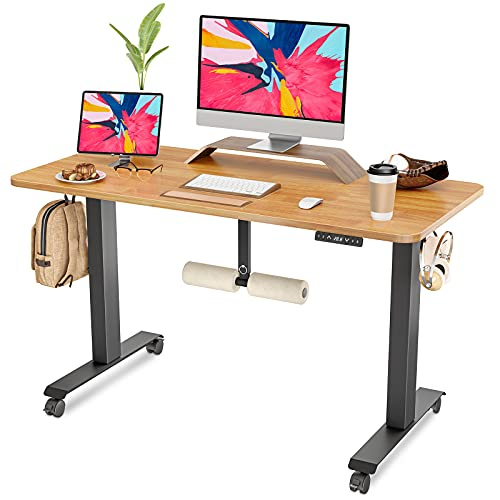 FAMISKY Standing Desk Dual Motors, Adjustable Height Electric Stand up Desk with Footrest, 48 x 24 Inches Sit Stand Home Office Desk, Ergonomic Workstation Black Steel Frame/Bamboo Wood Grain Top
