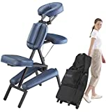 Master Massage Professional Portable Massage Chair, Light Weight Massage Therapy Tattoo Chair Professional for Massage Therapist Adjustable with Wheeled Carrying Case and PU Leather- Royal Blue