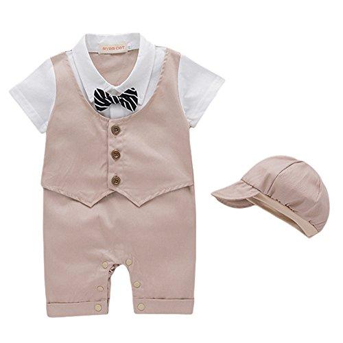 G-Kids Baby Jungen Strampler Smoking Gentleman Strampler Sommer Kleidung Outfit Taufkleidung Fliege mit Hut (Khaki, 9-12 Monate/90)