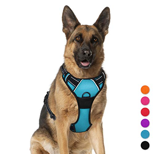 BARKBAY No Pull Pet Harness  Dog Harness Adjustable Outdoor Pet Vest 3M Reflective Oxford Material Vest for blue Dogs Easy Control for Small Medium Large Dogs (XL)